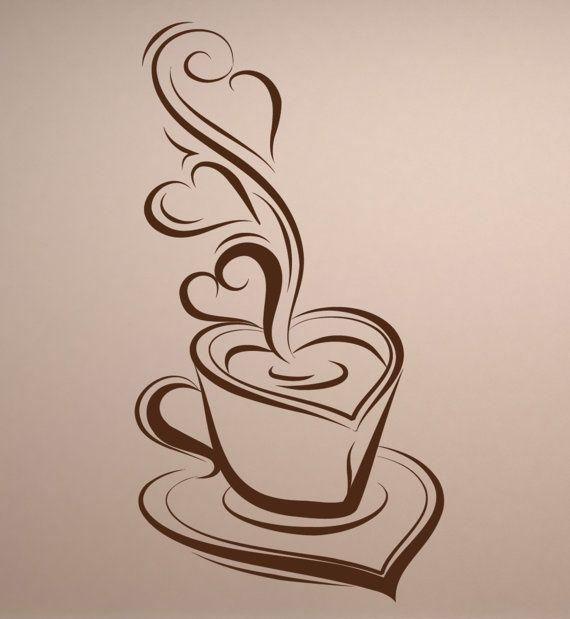 Рисунок с кофейной чашкой, дружеским поцелуем