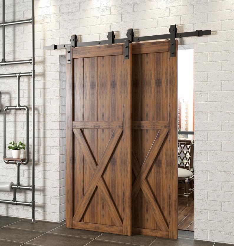 Single Track Bypass Sliding Barn Door Hardware Kit Interior Exterior Use 4 4 5 5 5 5 6 6 6 7 7 5 8 9 10 11 12 13 14 15 16 18 20 Ft Track In 2020 Bypass Barn Door Bypass Barn Door Hardware Barn Doors Sliding