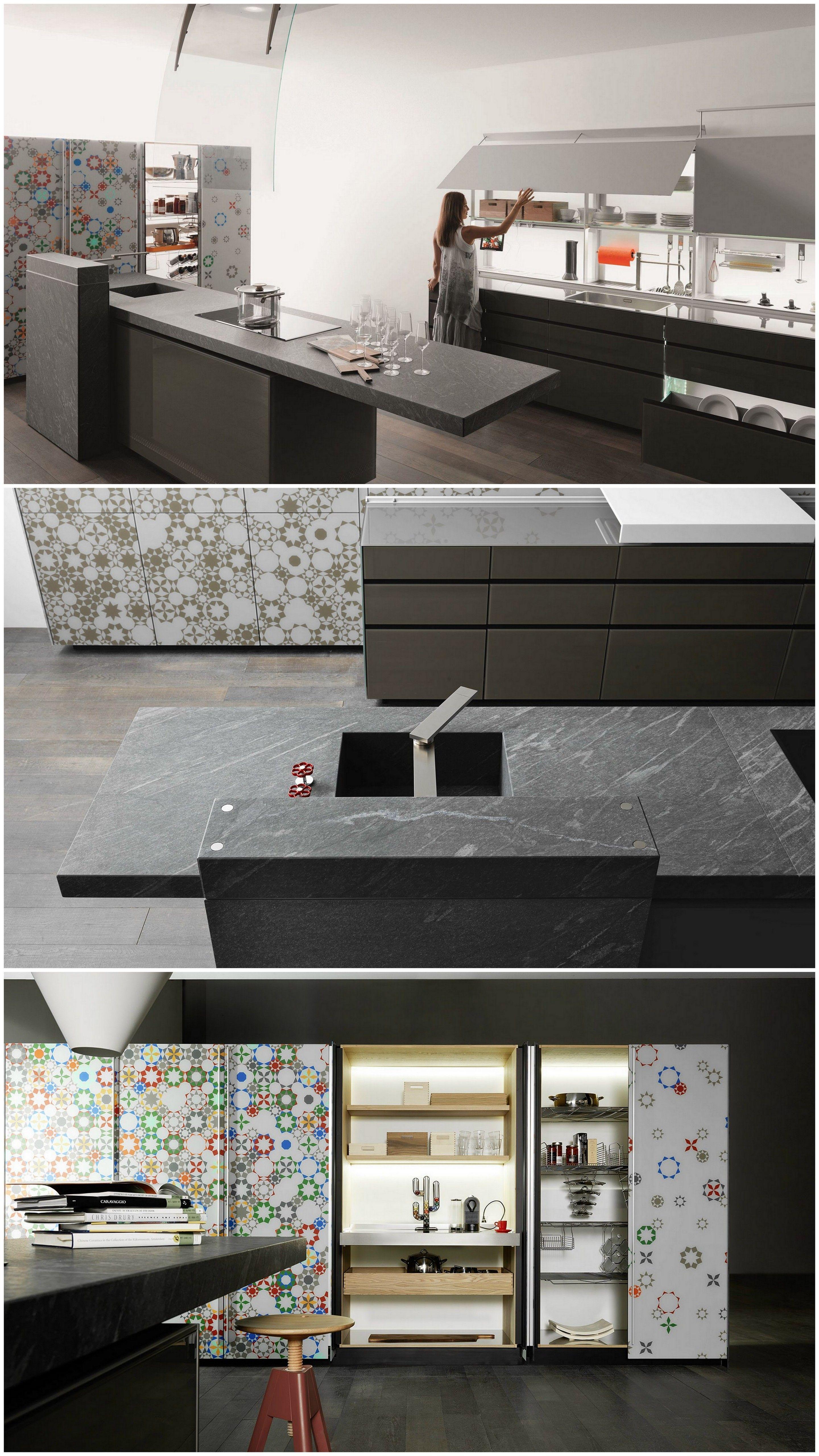 Fitted #kitchen with island NEW LOGICA SYSTEM | ARTEMATICA VITRUM Artematica Line by @valcucine | #design Gabriele Centazzo