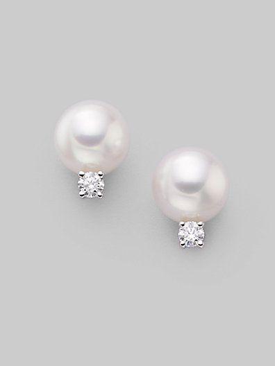 Mikimoto 7mm White Cultured Pearl Diamond 18k Gold Earrings