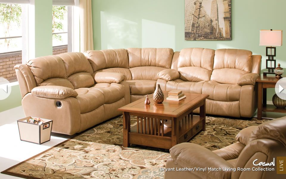 Bryant Leather Casual Sectional RaymourAndFlanigan