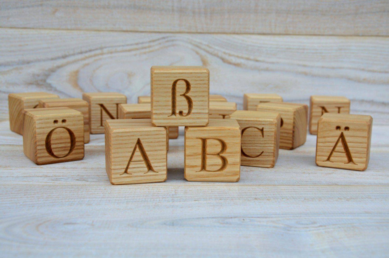 2 Large Wood German Alphabet Blocks Abc Blocks Back To School