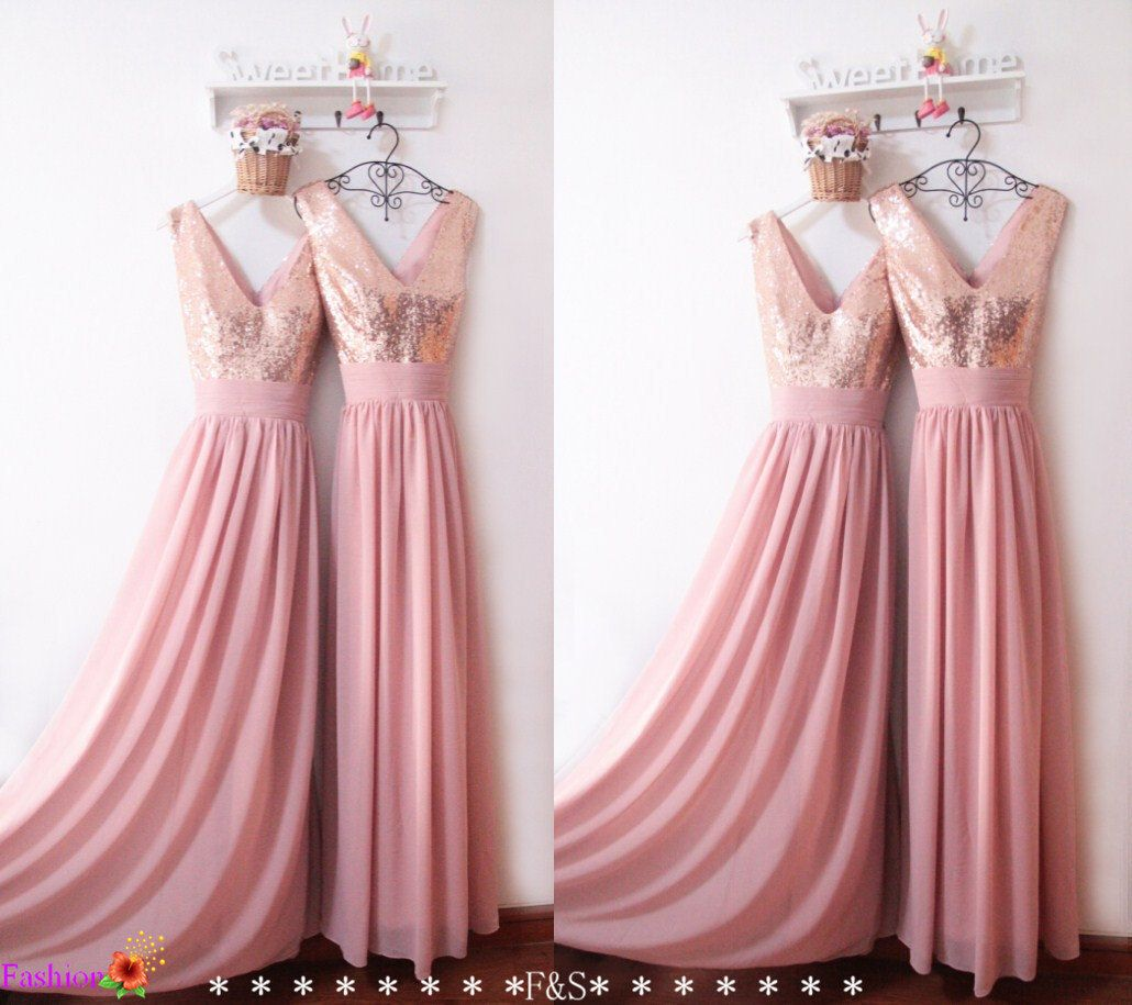 Bridesmaid Dress 2018Sexy Sequin Prom DressCustom Elegant Dusty Pink DressRose Gold