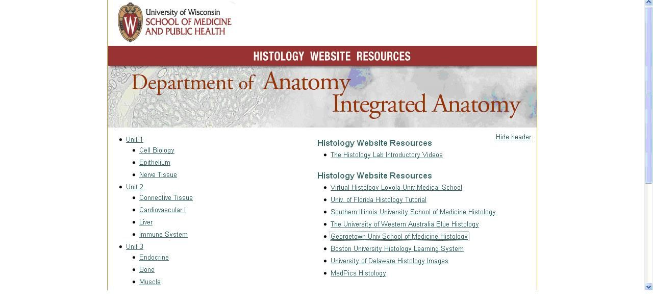 Histology Website Resources es una recopilación de recursos sobre ...