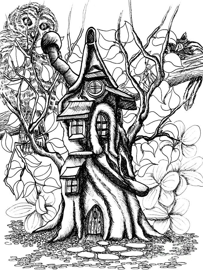 Kids House Drawing: Fairy Treehouse Owl And Chipmunk