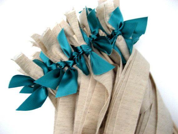 75 Wedding Wands Rustic Jute Ribbon with Satin Ribbon Ties, $75.00  www.katekatenyc.etsy.com