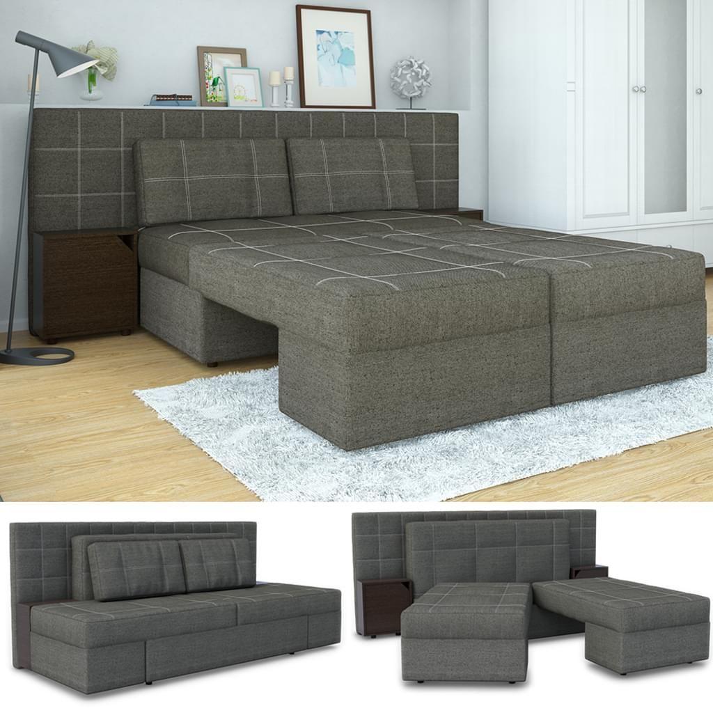 Sofa Mit Schlaffunktion 235 X 105 Cm In Grau Schlafsofa