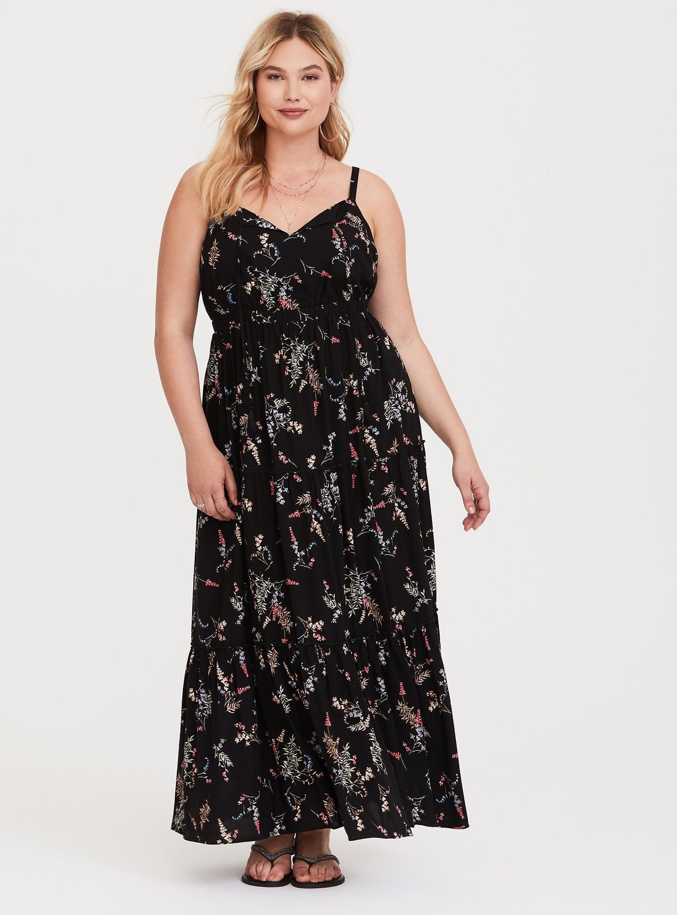 ad1a0c120c4 Black Floral Tiered Challis Maxi Dress - A stretch band defines your waist  in this form-forgiving challis dress that s soon to be your new favorite ...