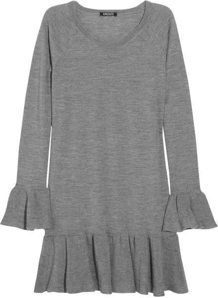 e04f55f1900 Dkny Merino Wool Dress in Gray (anthracite) - Lyst