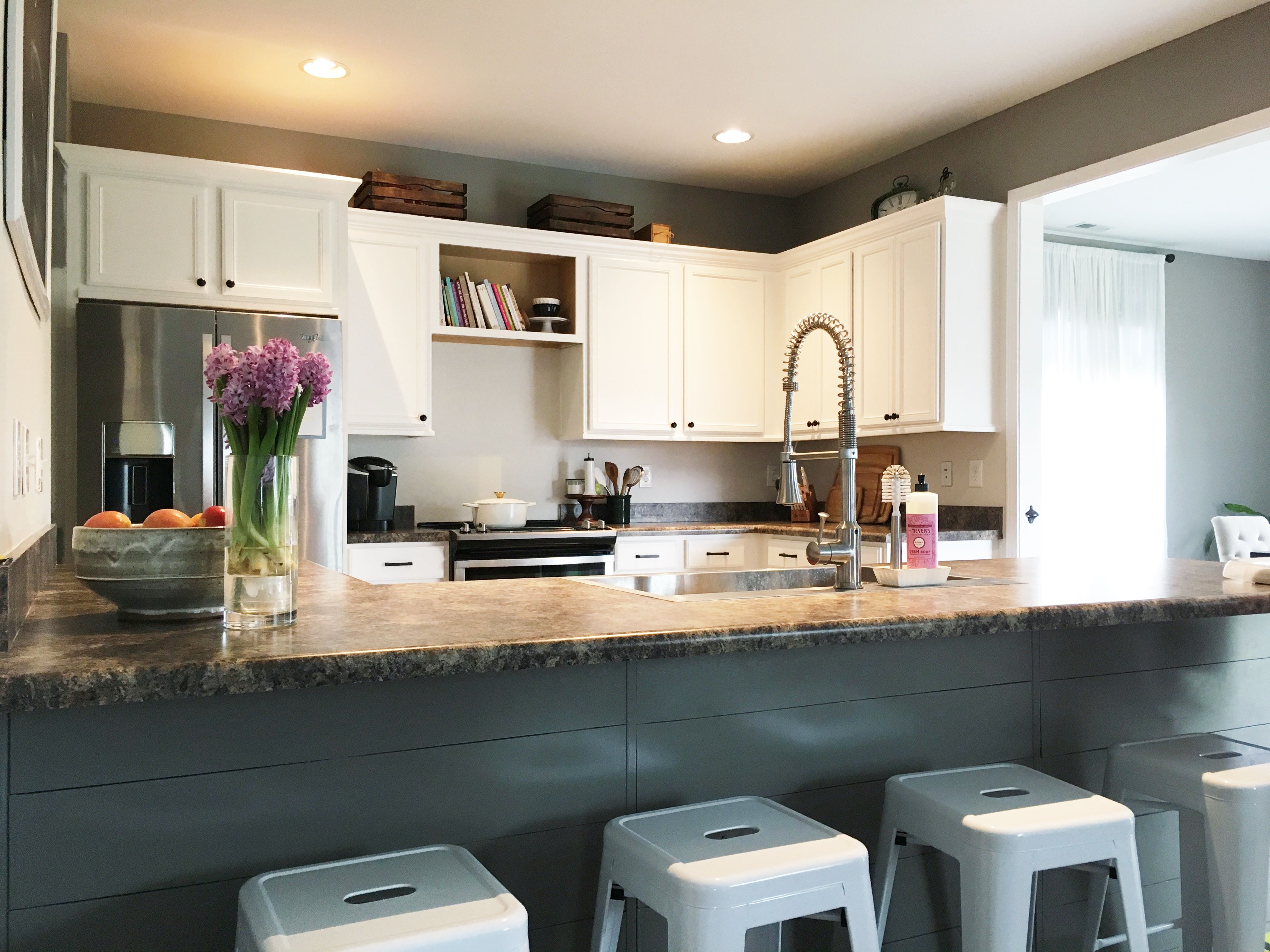 Kitchen makeover using Benjamin Moore Chantilly Lace and ...