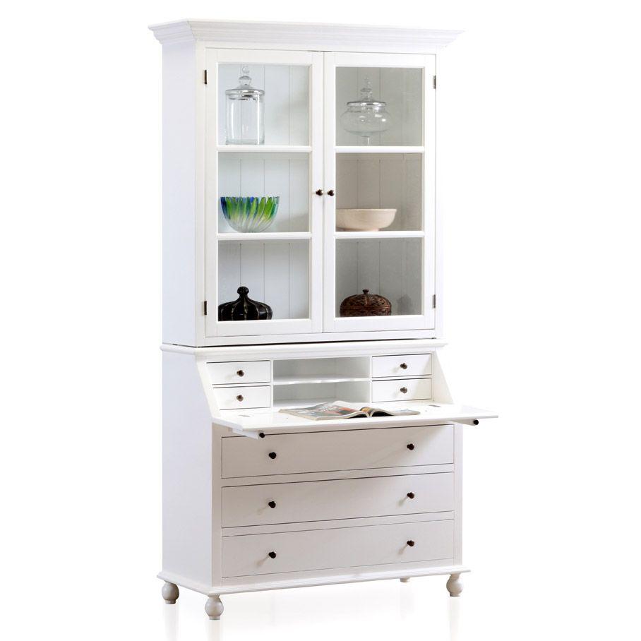 vaisselier blanc pas cher Vaisselier secrétaire EAST COAST en bois blanc mat L121xH220cm prix promo  Vaisselier Delamaison 699.90 u20ac