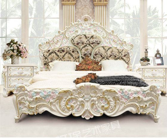 luxury french style and italian style hand carved bed odmk home furniture factory - Hand Carved Bedroom Furniture