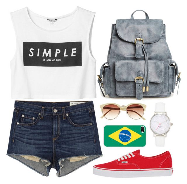 """""""Summer!♥"""" by modelely ❤ liked on Polyvore featuring rag & bone/JEAN, Vince Camuto, Kate Spade, Monki and Vans"""