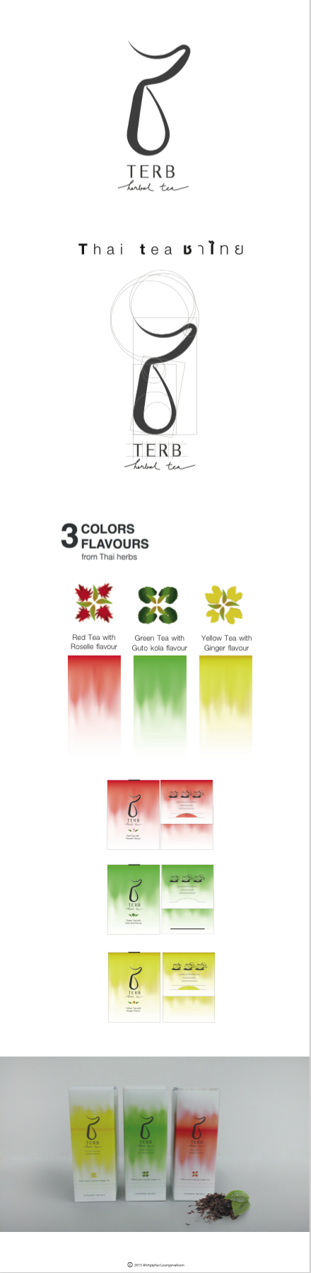 Logo design, package design, graphic design. Tea package design. A Thai contemporary concept, combine thai herb and tea created a new flavor.