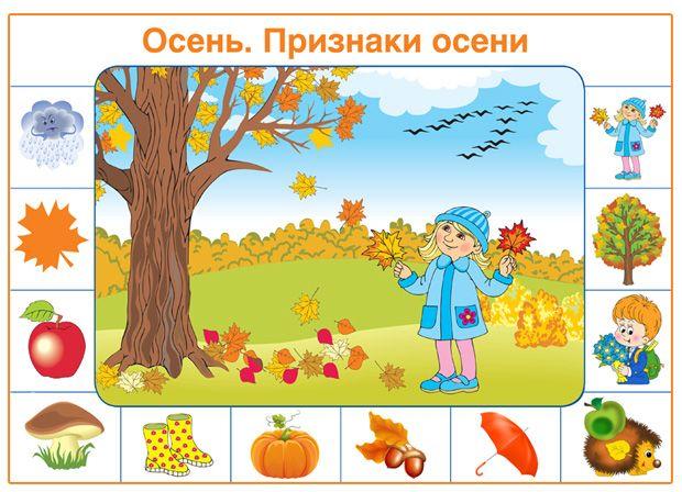 Плакат для дошкольников в детский сад - Осень. Признаки ...