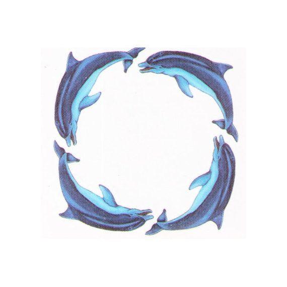 Dolphin Henna Tattoo: Temporary Tattoos Dolphins Circle - 2x2 Inch