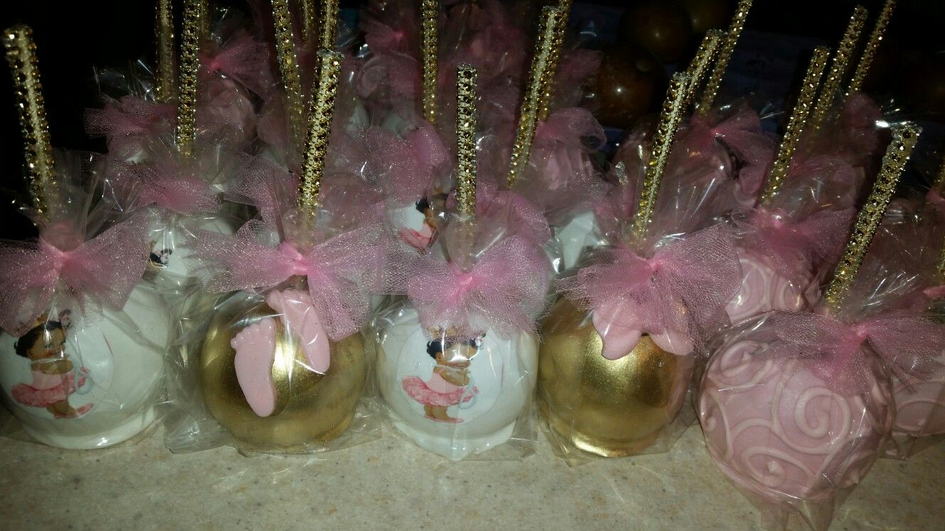 Pink,white,and gold candy apples