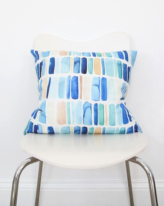 Vertical Stripes in Blue- Throw Pillow by YaoChengDesign on Etsy https://www.etsy.com/listing/218812481/vertical-stripes-in-blue-throw-pillow