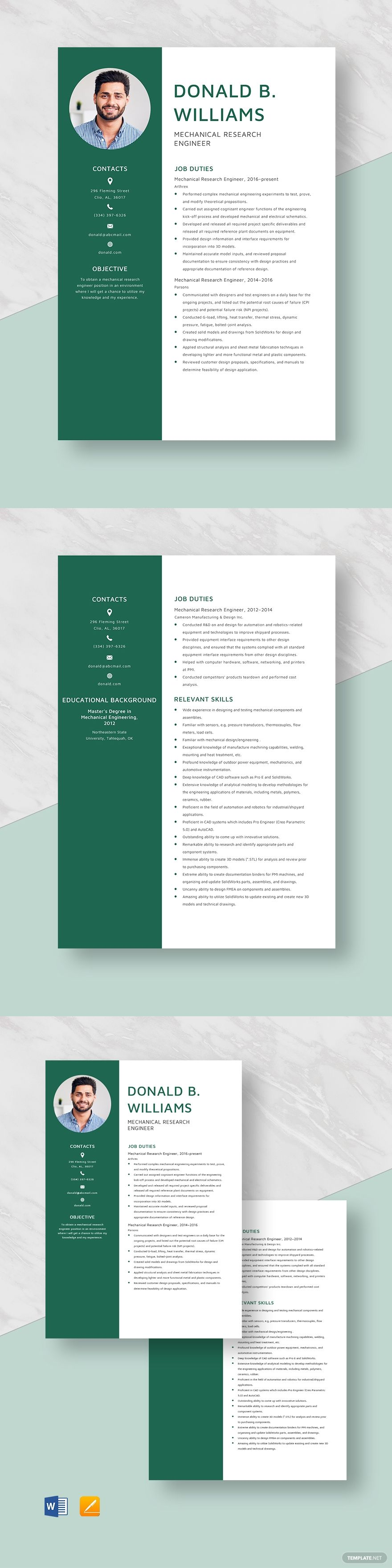 Mechanical research engineer resume template in 2020