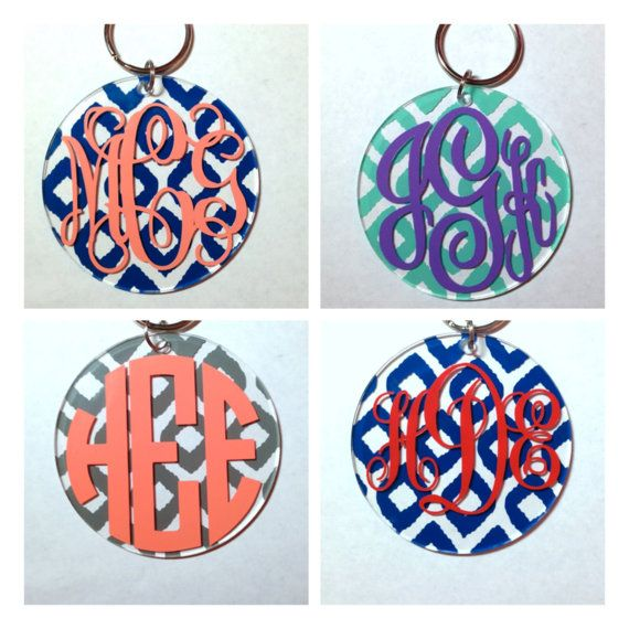 3 in Monogrammed Ikat Keychain