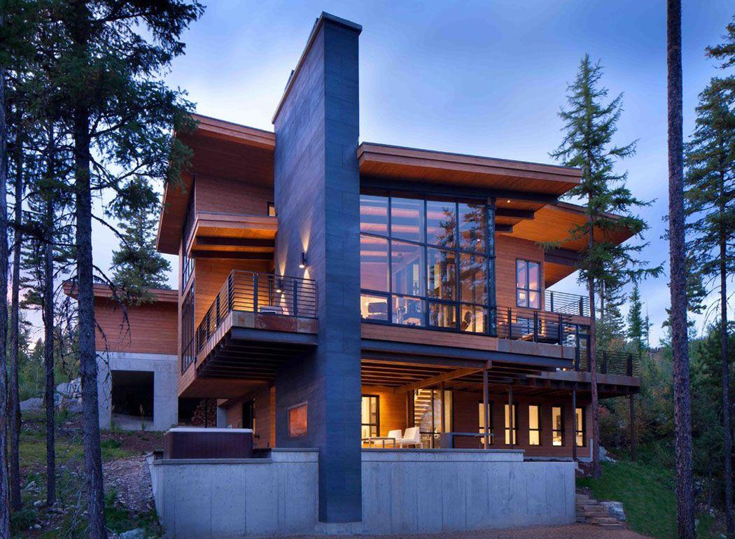 moderne maison rustique l architecture et agencement cr atif au montana architecture moderne. Black Bedroom Furniture Sets. Home Design Ideas