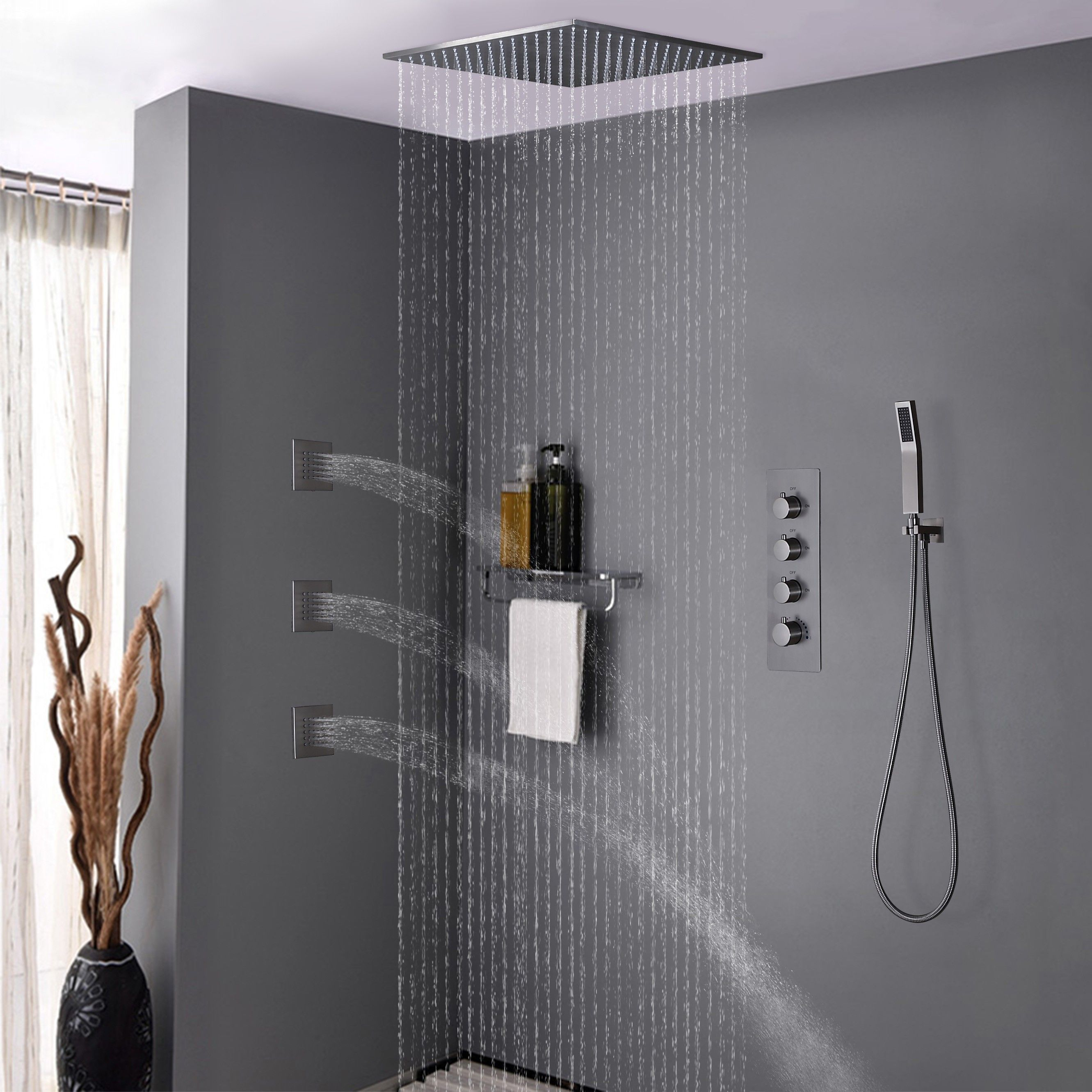 Modern Rain Thermostatic Brushed Nickel Shower Faucet Flush Mount Shower System With Hand Shower Body Jets Solid Brass Shower Faucet Square Shower Head Shower System