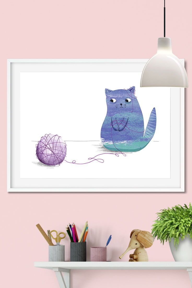 Playing cat print kitty cat giclee print gift for cat lovers blue