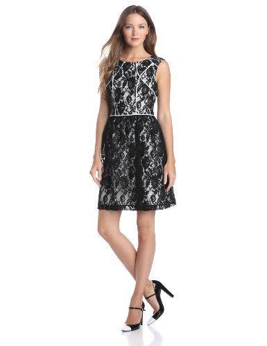 Ivy  Blu Womens Sleeveless Lace Fit and Flare Dress with Bodice Piping BlackWhite 2 >>> Read more  at the image link.