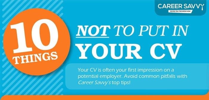 Resume Infographic #01 10 Things Not To Put In Your Resume CV - things not to put on a resume