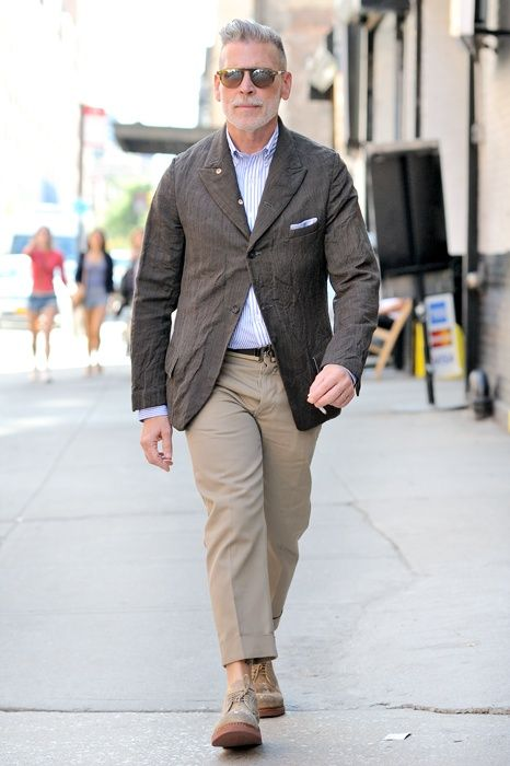 Nick Wooster Wearing Charcoal Blazer Light Violet