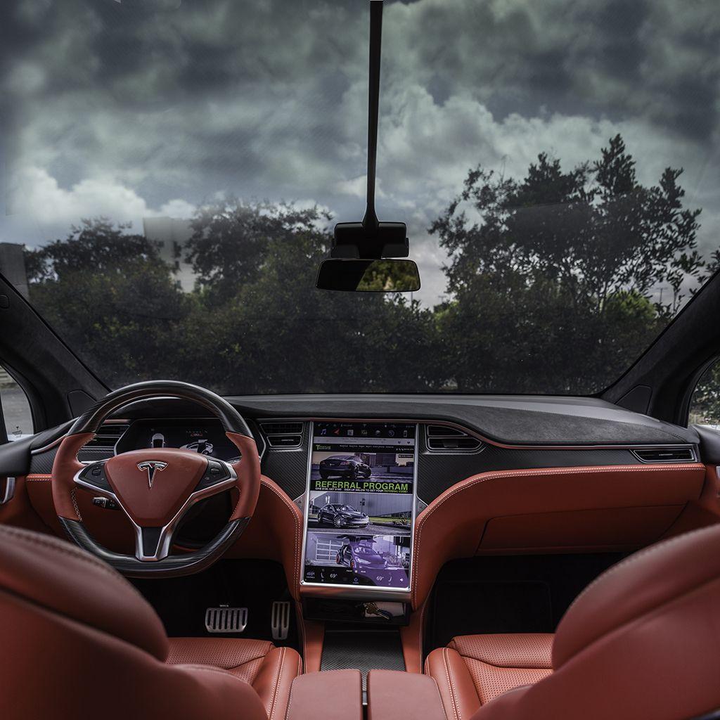 Tesla Model X Custom Interior in Bentley Red with Matte