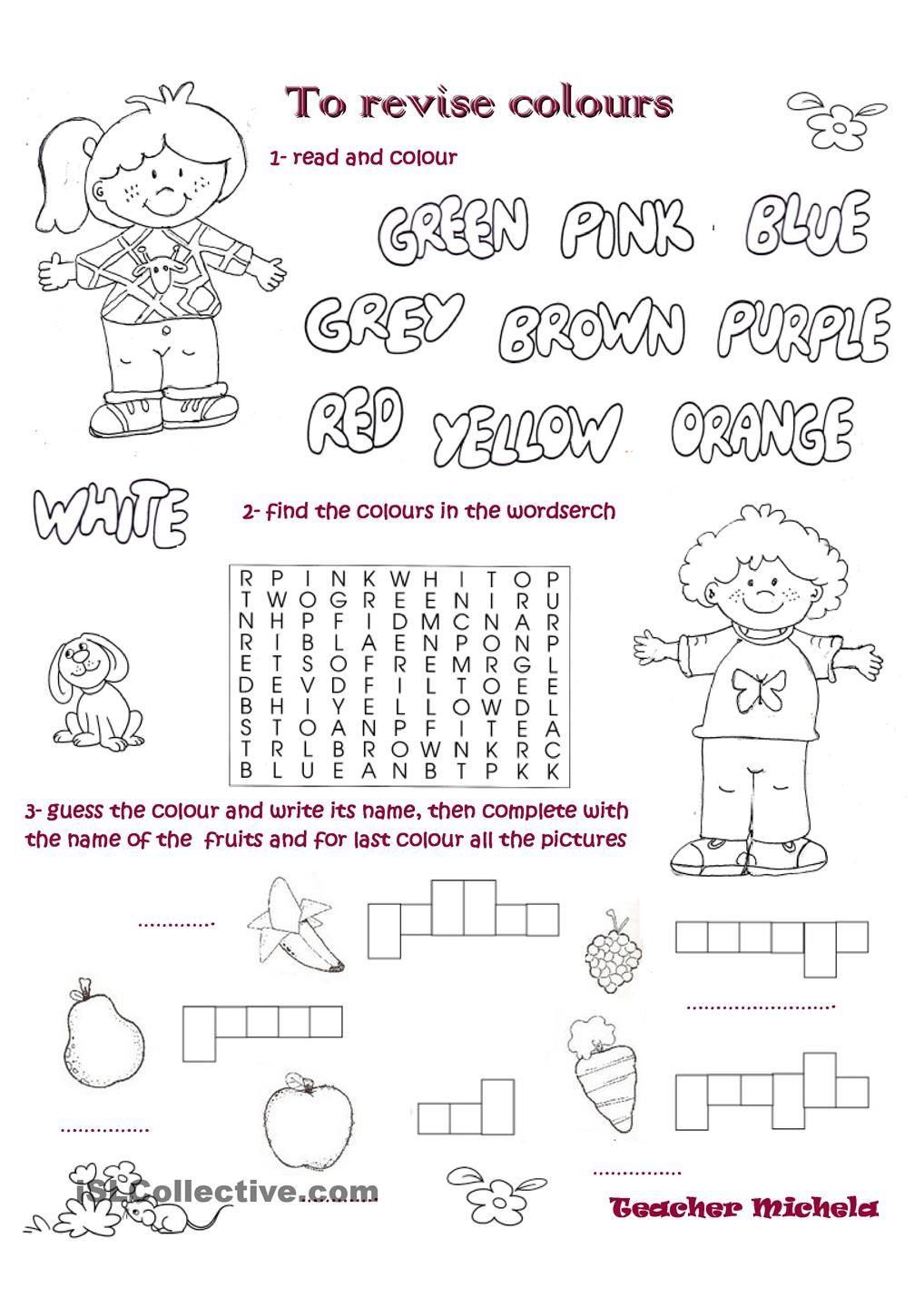 Color english worksheets - English Test
