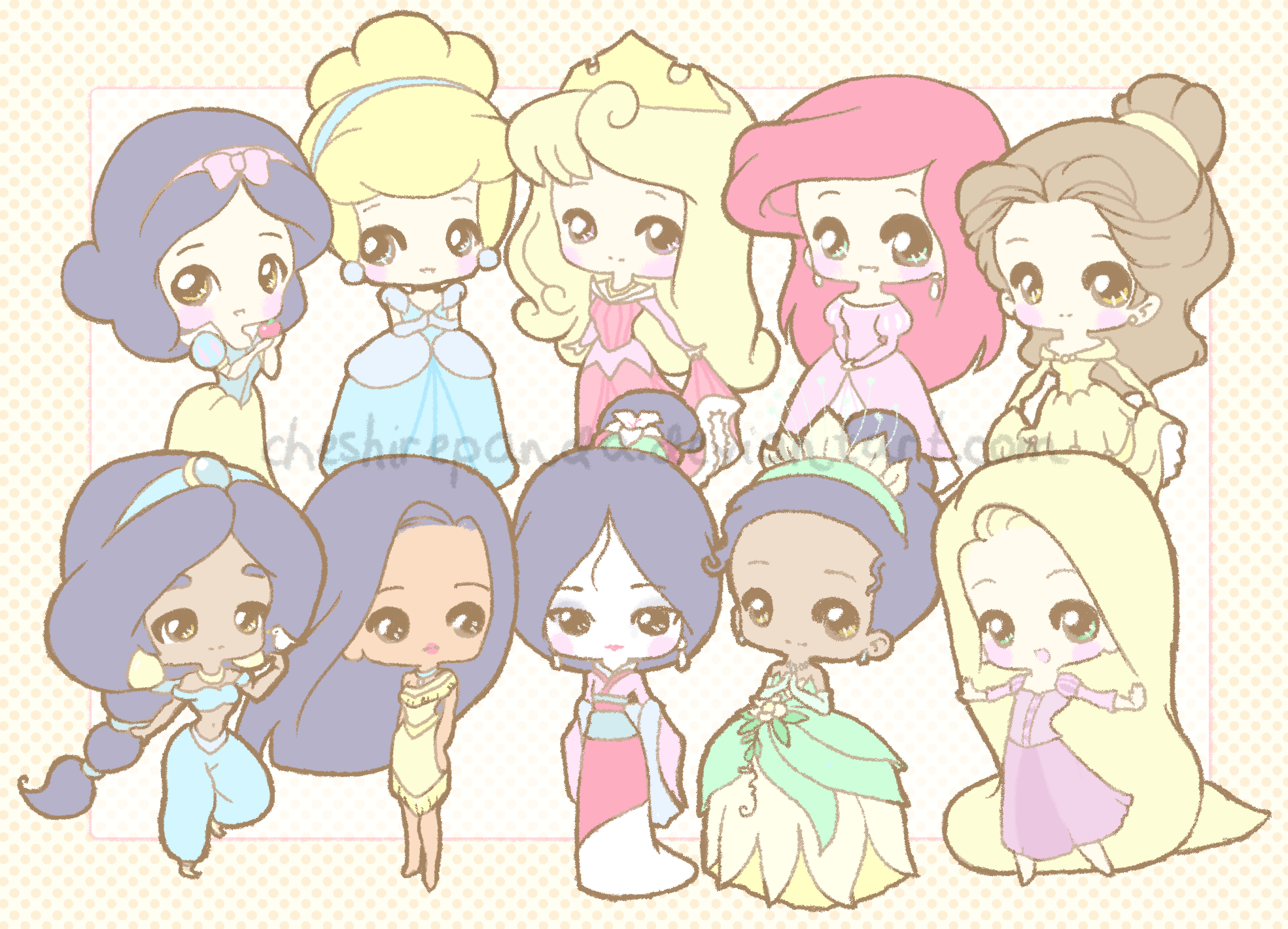 awww disney chibi princesses | anime fan art | Pinterest ...