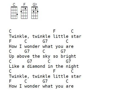 Twinkle Twinkle Little Star Chords For Ukulele Easy Chords For