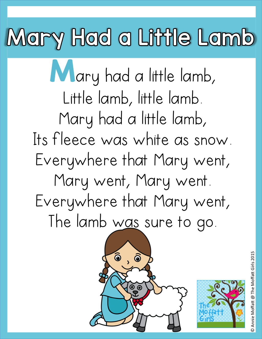 Mary Had A Little Lamb Interactive Word Work And Reading
