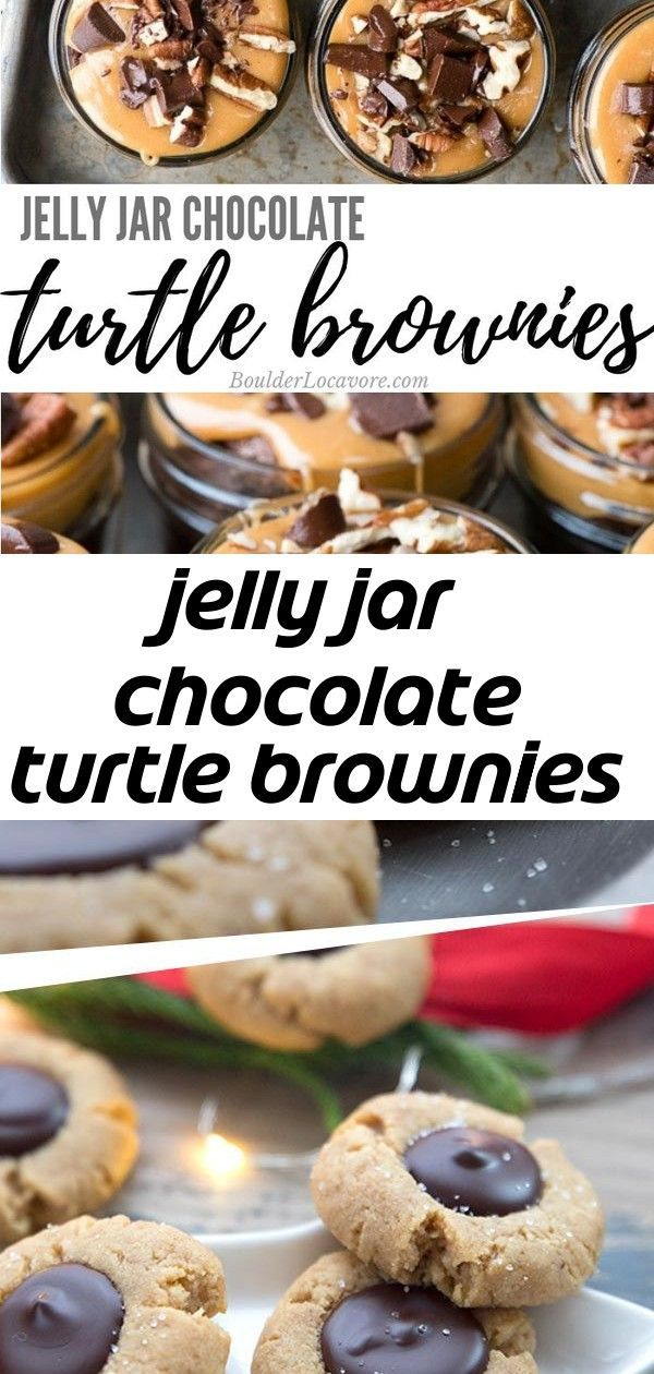 Jelly jar chocolate turtle brownies #chocolatepeanutbutterpokecake These ooey gooey chocolate brownies with caramel and pecans are an easy box mix hack! Baked in jelly jars they are simply irresistible! #brownies #dessert #easyrecipe #caramel Best ever keto Peanut Butter Blossoms. Trust me, guys, you won't miss the original when you taste these tender peanut butter cookies filled with sugar-free chocolate ganache. So rich and delicious. I swoon!  #lowcarb #sugarfree #keto #christmascookies #glut #turtlebrownies