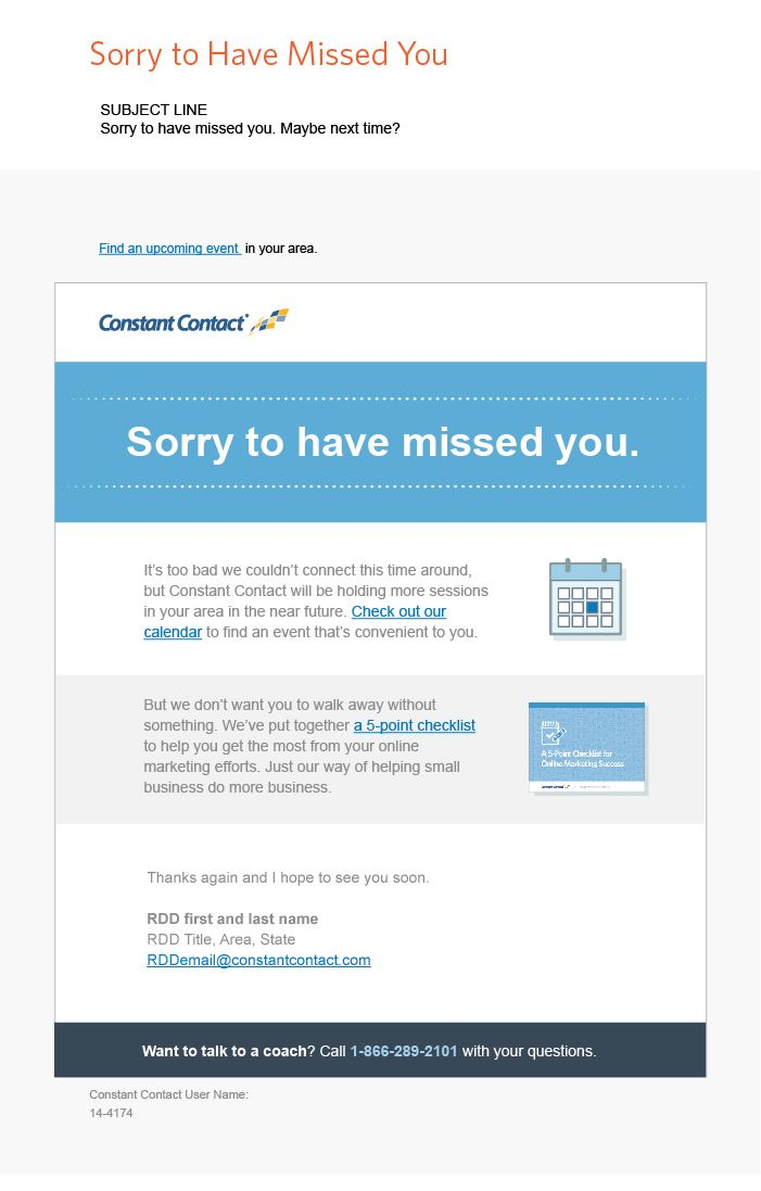 Email Template Design For Constant Contact Regional Directors 3 Follow Up To Events