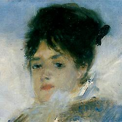 Camille Doncieux (Monet's first wife and in many of his paintings) Camille as painted by Auguste Renoir  in about 1874 ...to read more about Camille - http://www.monetpainting.net/camille.php#