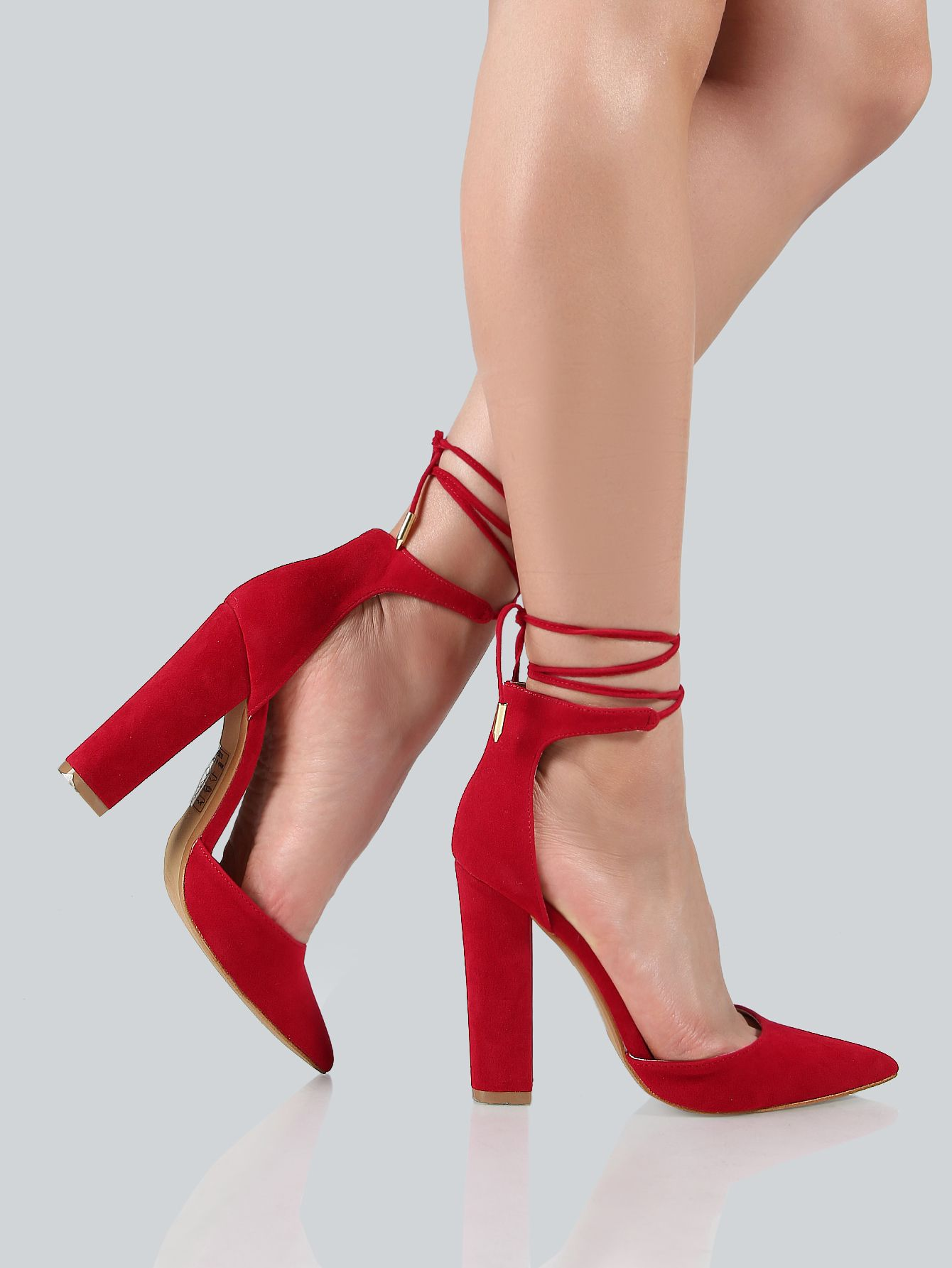 513dbceca12 Shop Ankle Wrap Closed Toe Heels RED online. SheIn offers Ankle Wrap ...