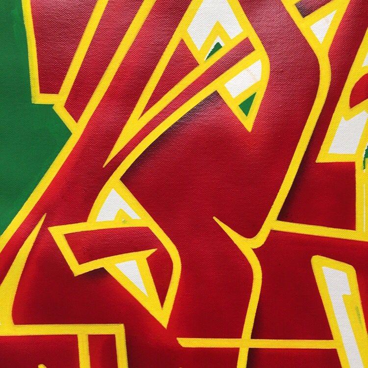 Acrylics spraypaint brush markers detail letters art konst kunst lines canvas