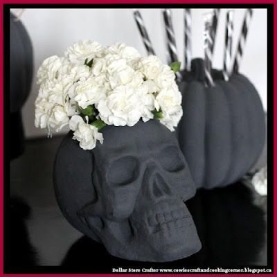 Dollar Store Crafter DIY Skull Vase And Halloween Party Decor - halloween party centerpieces ideas