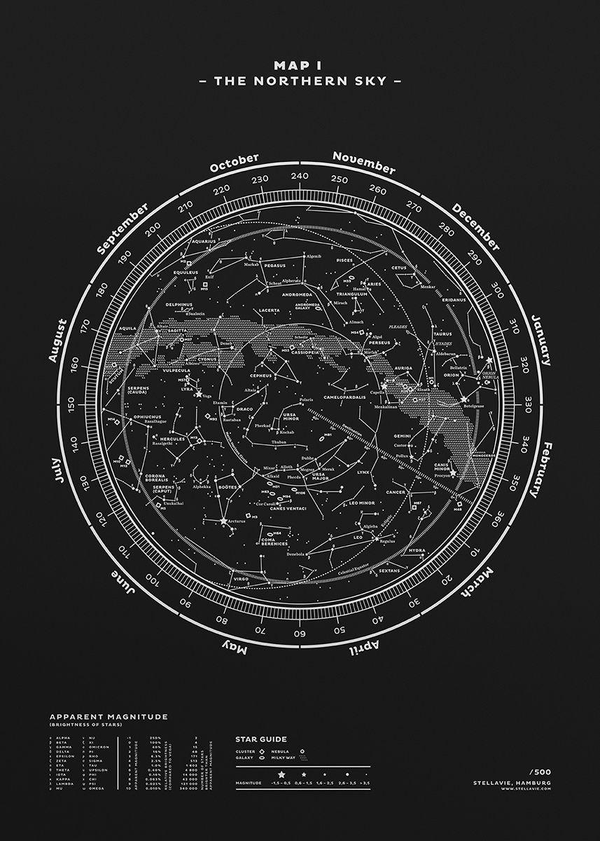 Carte I - Le Ciel du Nord | Fubiz For SPOOTNIK | Carte constellation, Constellations, Affiche ...