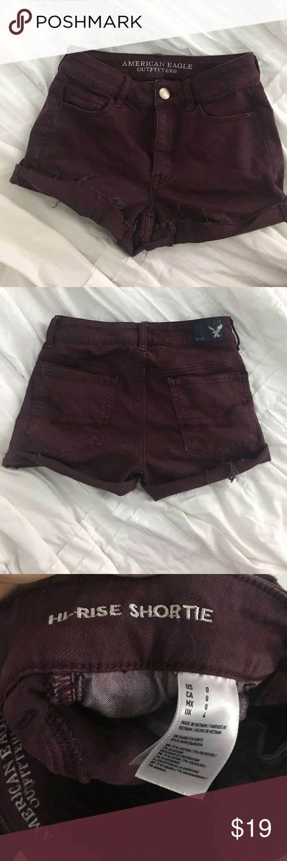 American eagle high waisted super stretch shorts U.S size 0 not too short and can be unrolled wore maybe three times due to sizing American Eagle Outfitters Shorts Jean Shorts