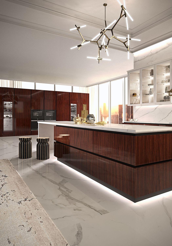 R01 Elegante Bespoke Rosewood Modern Kitchen Design Modern Tv Wall Units Kitchen And Bath Design