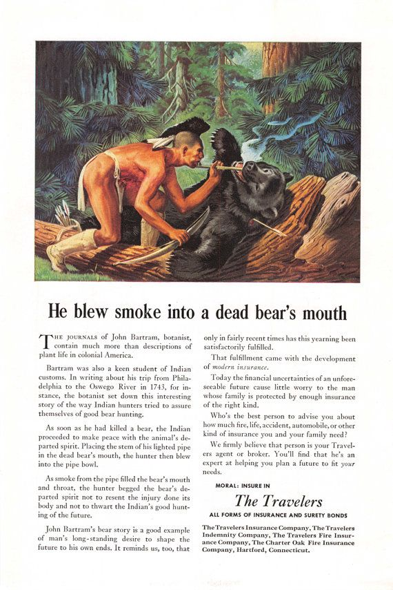 1947 Travelers Insurance Ad - Mohawk Indian Brave Hunting - Bear ...