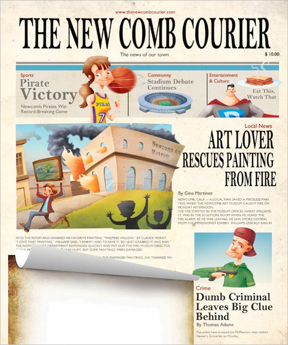 Image Result For Printable Newspaper Template Cartoons Two Pinterest