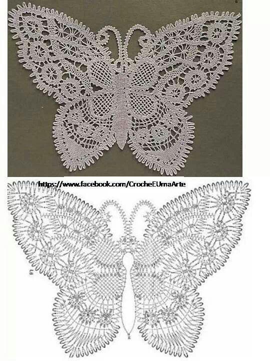 FREE DIAGRAM ~ Butterfly | Crochet | Pinterest | Häkeln, Häckeln und ...