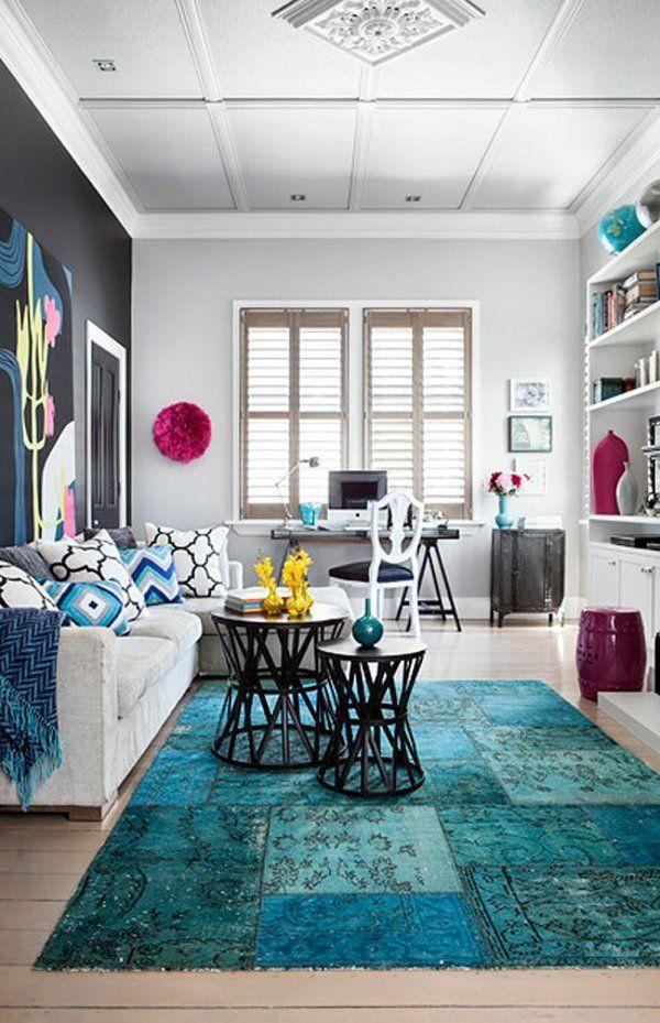 Fesselnd Wohnzimmer Bunte Teppiche Blau