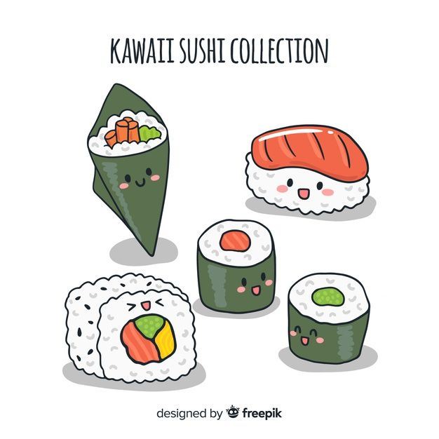 Download Hand Drawn Kawaii Sushi Collection for free