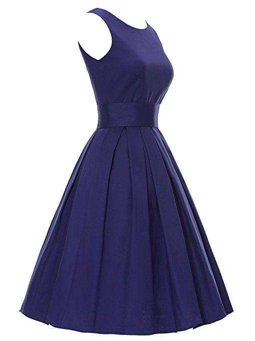 LUOUSE Sommer Damen Ohne Arm Kleid Dress Vintage kleid Junger abendkleid: Amazon.de: Bekleidung